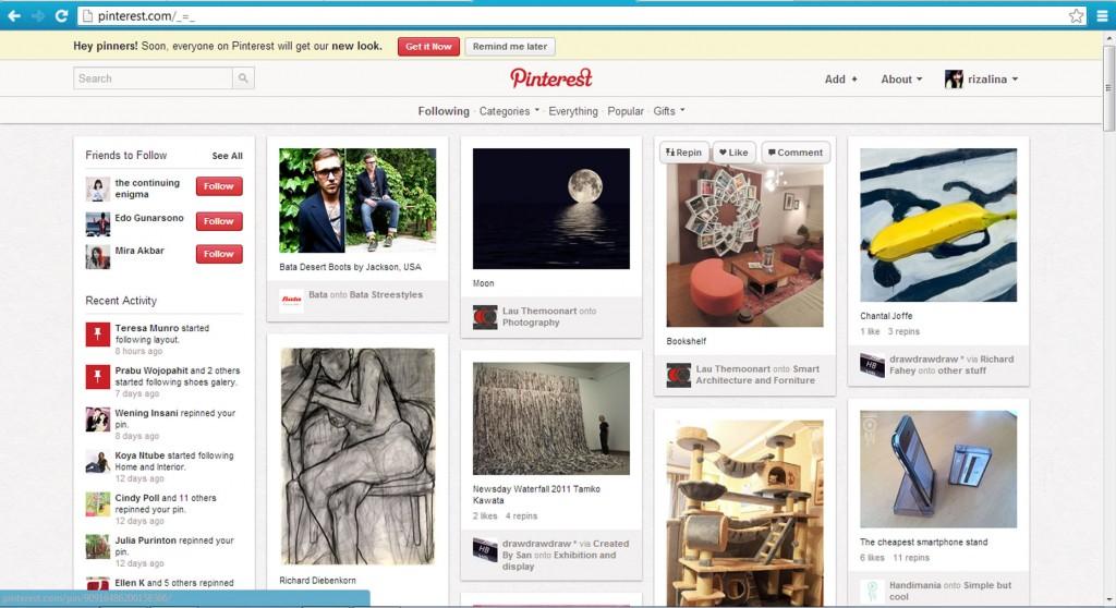 Gambar 1: Dashboard Pinterest