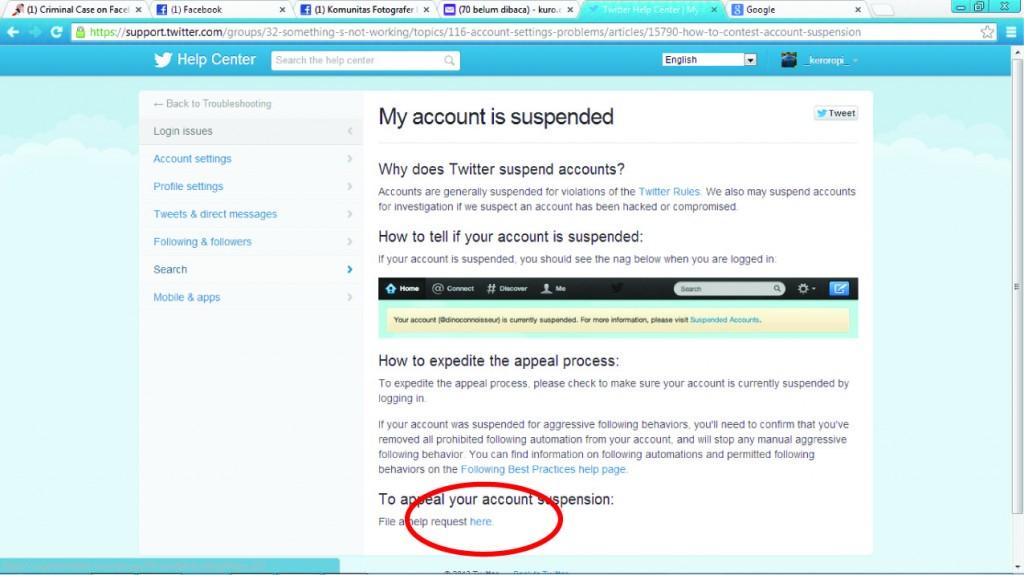 Cara Mengatasi Akun Twitter Suspended | Saran2.com