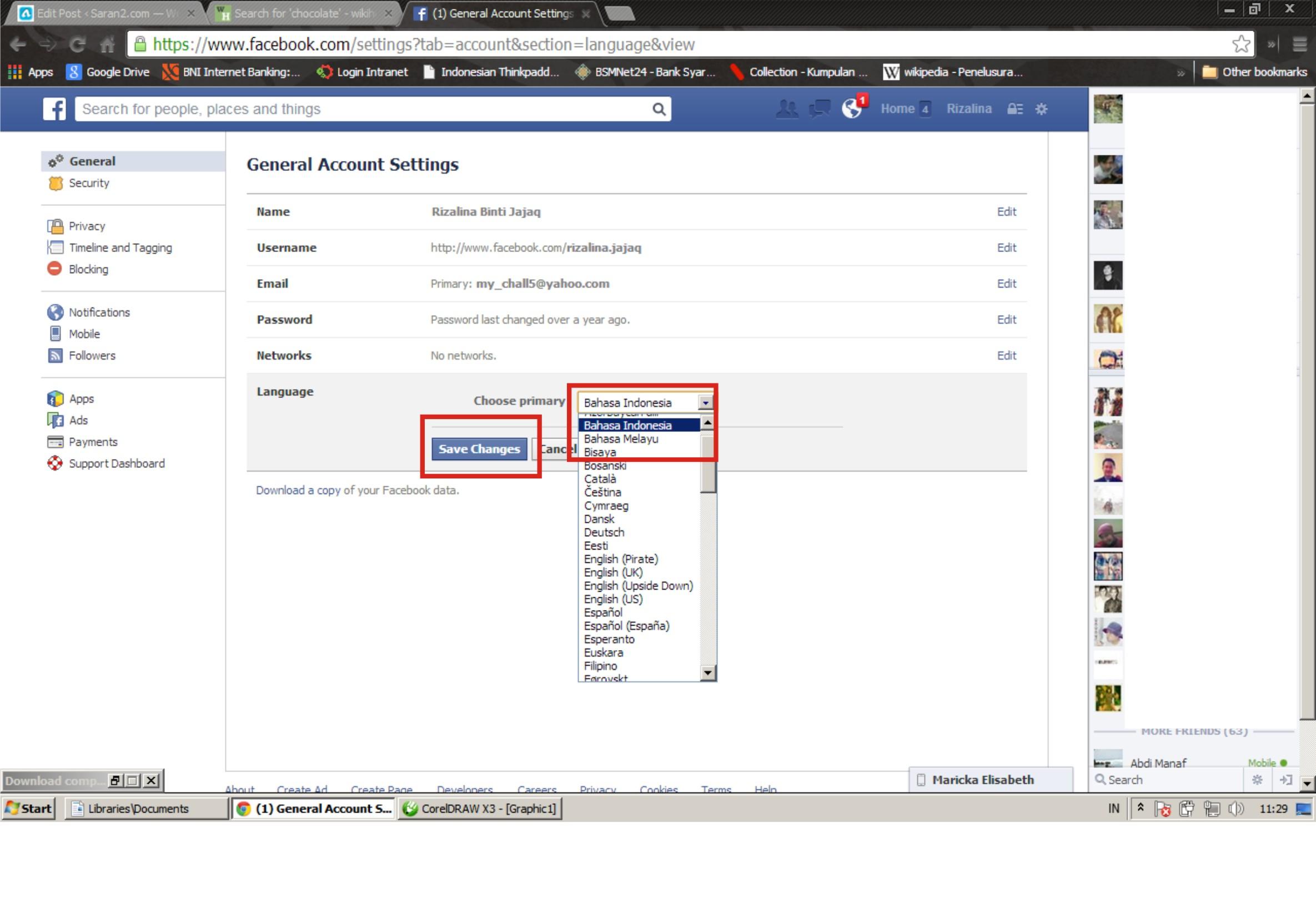Selesai. settingan bahasa pada halaman facebook anda sudah berganti